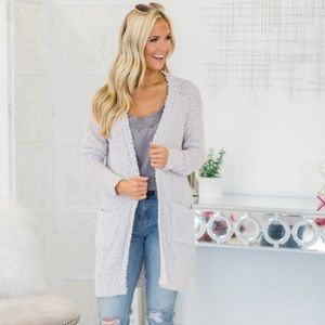 S Only In Dreams Light Gray Popcorn Sweater